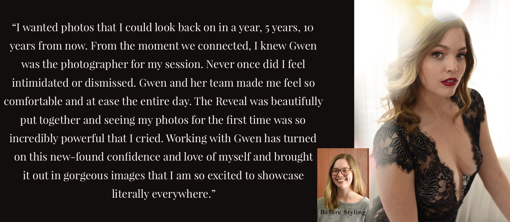 Client Rachael describes the personally empowering experience of being photographed by Gwendolyn Mercer Photography in a glowing review. Self-love.