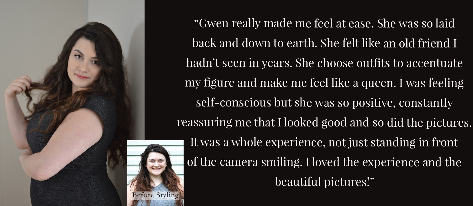 Client Andrea describes feeling comfortable with Gwendolyn Mercer Photography. Gwendolyn Mercer alleviates any worries, reassured Andrea, and was so positive. Being photographed by Gwendolyn Mercer Photography is an experience and the pictures are beautiful.